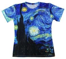 Harajuku T-kemeja Pria/Wanita Vincent Van Gogh Oil Painting Starry Night Print 3D T Shirt Unisex Casual Pendek- Lengan S-5XL-Intl