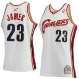 Spesifikasi Hardwood Classics Cleveland Cavaliers Nba Lebron James Swingman Pemain Pria 23 Basket Jersey Tim Warna Breathable Ringan Kering Fast Top Putih Rumah M Intl