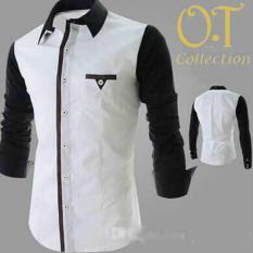 Harga Diskon SALE kemeja pria putih combi warna hitam (N355 executive white)