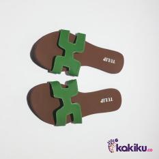 Harga Promo !!  Sandal / Sendal Tulip Teplek H Hijau MA07 / Sandal Flat Murah  Ter-MURAH