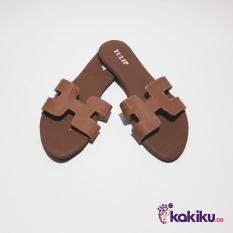 Harga Promo !!  Sandal / Sendal Tulip Teplek H MA07 Brown / Sandal Flat Murah  Ter-MURAH