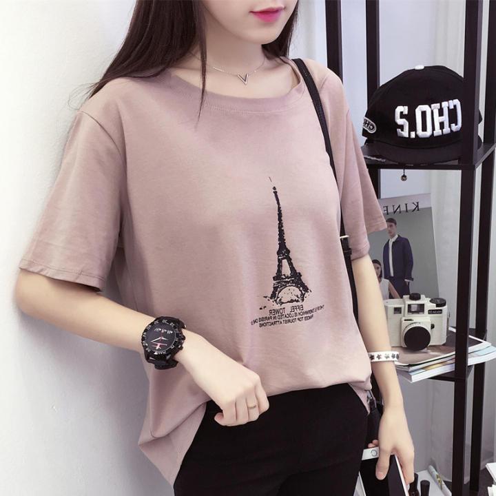 Masuknya Kaos Korea Fashion Style Musim Panas Longgar Baju Kaos Wanita (661 (kulit merah muda))