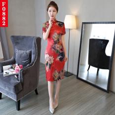 Review Tentang Harian Peningkatan Perjamuan Etiket Cheongsam Gaun F0882 Baju Wanita Dress Wanita Gaun Wanita