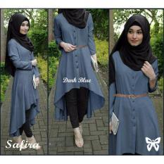 Review Hasanah Fashion Safira Tunic Dark Blue Jawa Barat
