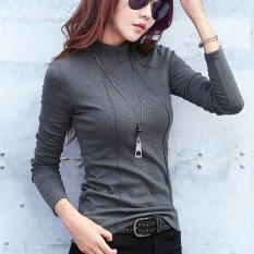 Hasselblad Garis Warna Polos Lengan Panjang Wanita Baju Dalaman Kaos (Abu-abu)