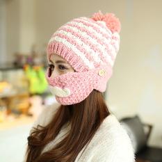 Topi Musim Gugur atau Dingin Masker Topi Tutup (Merah Muda) cb00828ed3