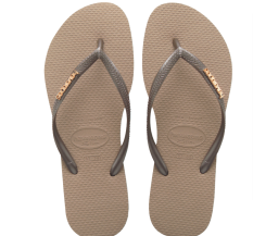 Havaianas Logam Wanita Datar Tergelincir Sendal Karet Sandal Jepit (Bedak Emas)
