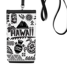 Kepulauan Hawaii Merayakan Siluet Amerika Faux Kulit Smartphone Menggantung Dompet Hitam Ponsel Dompet Hadiah-Intl