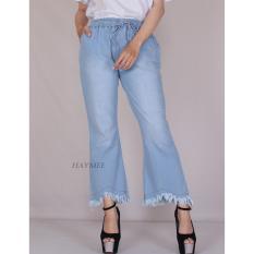 Toko Jual Haymeestore Celana Boyfriend Cutbray Jeans Sobek Wanita Celana Denim Wanita Blue Ice