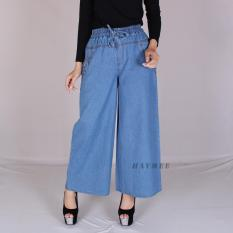 Jual Haymeestore Celana Kulot Jeans Denim Panjang Wanita Celana Cullot Denim Cewek Bawahan Cewe Pakaian Kantor Casual Fashion Branded Murah