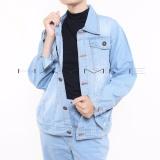 Jual Haymeestore Jaket Jeans Denim Oversize Wanita Jaket Jumbo Cewek Light Blue Baru
