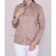 Jual Haymeestore Kemeja Coklat Polos Wanita Baju Kantor Brown Formal Kerja Cewek Katun Strecth Premium Original