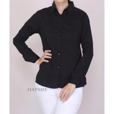 HaymeeStore Kemeja Putih Polos Wanita Baju Kantor Formal Cewek Atasan Kerja cewe Bahan Katun Strecth