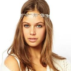 Headpiece Gold Flower Leaves Headband Hijab