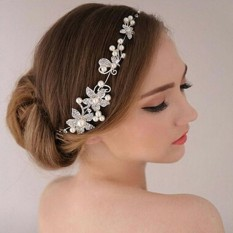 Jual Beli Headpiece Wedding Pearl Crown Hairpiece