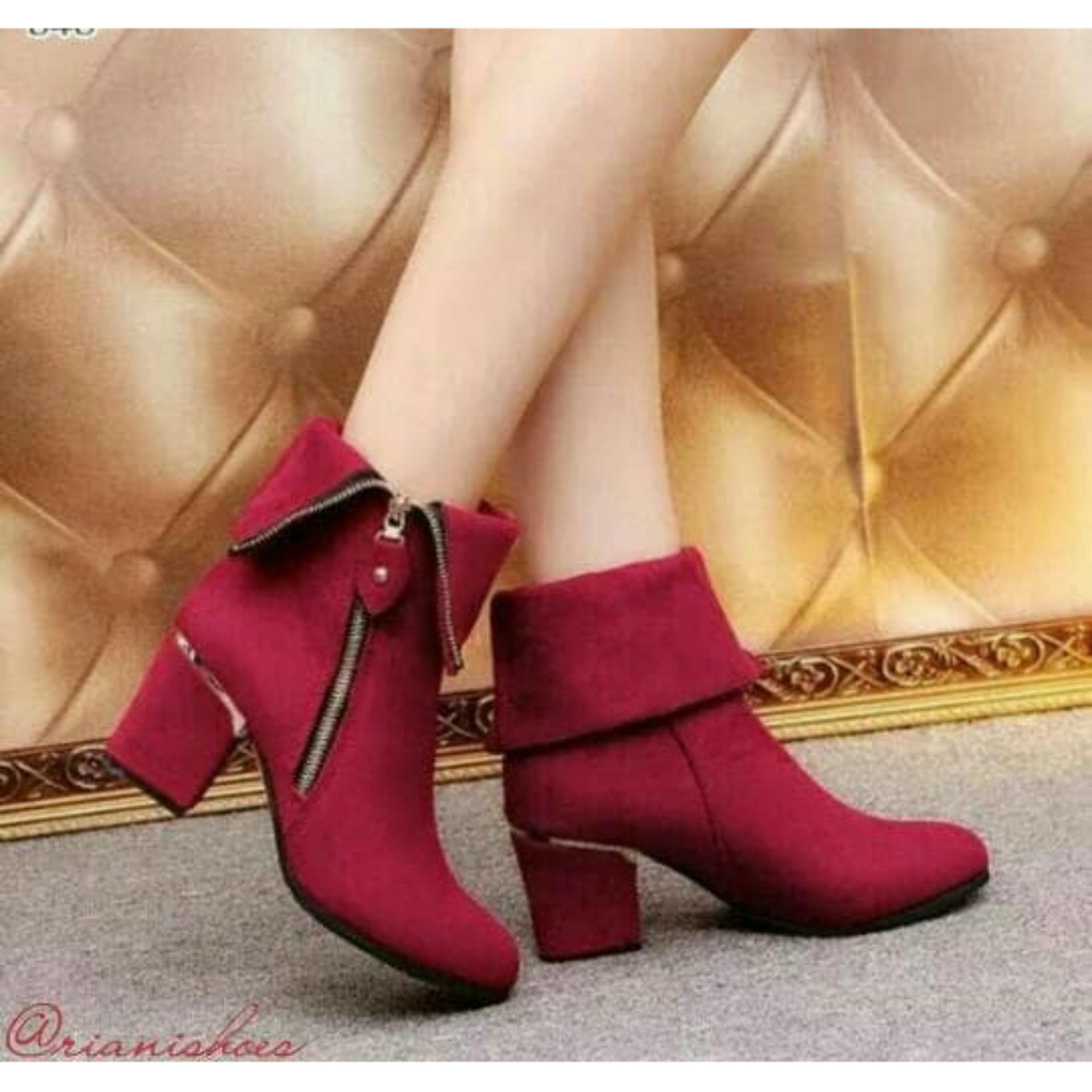 Hs Sepatu Boots High Heels Press Kembang Merah Cek Harga Terkini Boot Ls09 M Sleting Lipat 30