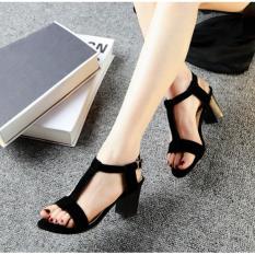 Heels kotak tahu vintage wanita heel kerja kantor formal main pesta 5cm Black