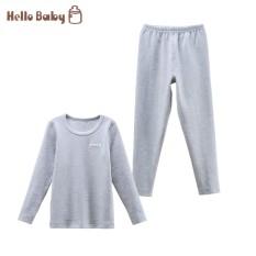 Hellobaby Katun Model Musim Dingin Anak-anak Yang Hangat Pakaian Dalam Baju Musim Gugur Long Johns (Ya Abu-Abu)