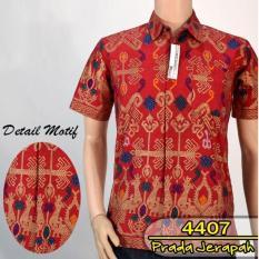 Toko Hem Batik Printing Emas Jerapah Slimfit Lengan Pendek Baju Kondangan Pria Kemeja Formal Lengkap Indonesia