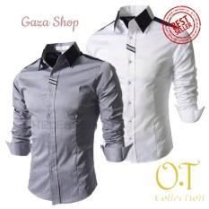 Hem Excellior OT Pakaian Pria Kemeja Slim Fit Warna Abu Dan Putih - Opd9hw