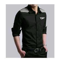 Jual Beli Online Hem Lie Black Ot Pakaian Pria Kemeja Slim Fit Warna Hitam