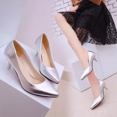 HengSong Korea Fashion Paten Kulit Tip High Heels Dangkal Mulut Pendudukan Wanita Sepatu Tunggal Pumps (