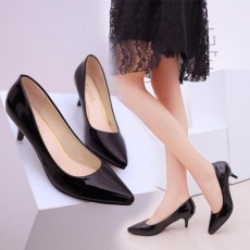 HengSong Korean Fashion Patent Leather Tip High Heels Shallow Mouth Shoes Occupation Women's Single Shoes Pumps