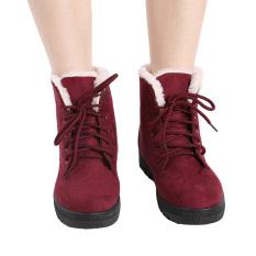 HengSong Sepatu Bot Salju Martin Factory Outlet Sepatu Wanita Korea Sepatu Tahan Air Merah Anggur
