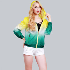 HengSong Unisex Fashion Langsing Sports-Luar The Crowd Pakaian rak Berlengan Ritsleting Jaket Wanita UV-Sinar Panjang Kuning + Hijau