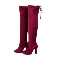 Jual Beli Hengsong Pemukiman Bahan Kimia Fashion Kulit Wanita Tinggi Tumit Sepatu Bot Merah Anggur Lutut Dia Di Tiongkok