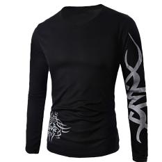 Hequ Fashion Mens Slim Fit Round Neck Long Sleeve Tattoo Print Casual T-shirt Black - intl