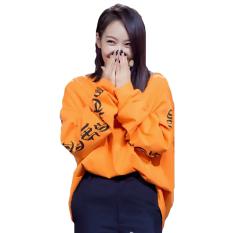 Hequ Fashion Baru Kanye Barat Big Bang T-shirt-nya Panjang Longgar Lengan Gaya Hip Hop Terlalu Gede Wanita Kaos Pria Jeruk-ต่างประเทศ