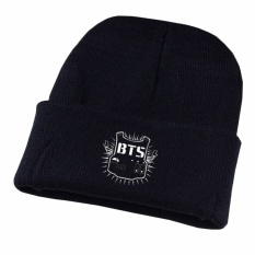 Hequ BTS Unisex Cap Anak Laki-laki Newe Arrival Cool Hangat Musim Dingin Harajuku Korea Wol Knit Letter Caps Hat Pasangan Fashion Topi Hitam-Intl