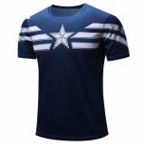 Promo Hequ Kapten 3D Cetak T Shirt Kemeja Pria Pria Top T Shirt Kebugaran Kompresi Lengan Pendek Tees Blue Intl