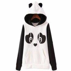 Hequ Natal Baru Indah Wanita Panda Hoodies Hitam And Putih Musim Dingin Musim Gugur Cosplay Pullover Sweatshirt Kemeja Putih