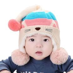 Hequ Cute Baby Hat Hangat Bayi Beanie Cap untuk Anak Laki-laki Perempuan Animal Cat Ear Kids Crochet Rajutan Hat Beige -Intl