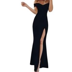 Hequ Elegan Wanita Off Bahu Gaun Split Garpu Terbuka Pesta Malam Gaun Panjang Bodycon Backless Gaun-Intl