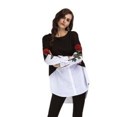 Jual Hequ Bordir Patchwork T Kemeja Wanita Lengan Panjang Tops O Neck Tee Shirt Femme Floral Camiseta Poleras De Mujer T Shirt Hitam Intl Hong Kong Sar Tiongkok Murah
