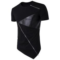 Hequ Tidak Beraturan Longline T Shirt Pria TEE SHIRT SLIM FIT Mens Miring Ritsleting T Shirt Lengan Pendek Katun Hip Hop Kaos-International