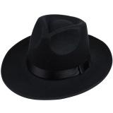 Iklan Hequ Korea Gaya Vintage Wanita Pita Lebar Brim Faux Wool Felt Hat Floppy Bowler Fedora Cap Black Intl