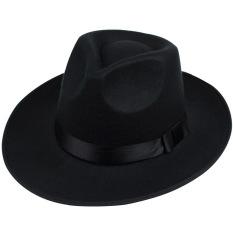 Jual Hequ Korea Gaya Vintage Wanita Pita Lebar Brim Faux Wool Felt Hat Floppy Bowler Fedora Cap Black Intl Hequ Online