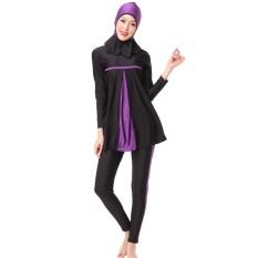 Hequ Ladies Full Cover Muslim Swimwears Islamic Womens Swimsuits Arab Islam Beach Wear Panjang Hijab Sederhana Berenang-Intl