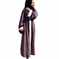 Hequ Tips Berhijab Lace Robe Long Bermotif Pakaian Wanita Arab Ladies Malaysia Abayas Muslim Jubah Ungu-Intl