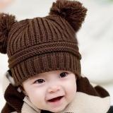 Jual Hequ Baru Chic Double Ball Cute Knit Hat Korea Versi Untuk Musim Gugur Musim Dingin Beanie Baby Hat Kopi Intl Branded