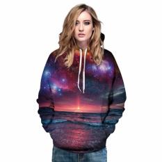 Spesifikasi Hequ Baru Fashion Starry Sky Galaxy Hooded Sweatshirt Sunrise 3D Digital Printing Hip Hop Kasual Sportwear Atasan Hitam Internasional Terbaru