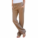 Diskon Hequ Newest Women Fashion Solid Color Drawstring Linen Pants With Pockets Khaki Intl