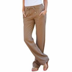 Review Hequ Newest Women Fashion Solid Color Drawstring Linen Pants With Pockets Khaki Intl