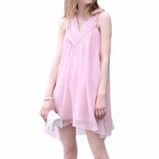Harga Hequ Musim Panas Chiffon Maternity Gaun Tanpa Lengan Putri Paragraf Pakaian Wanita Hamil Gaun Pink Intl Satu Set