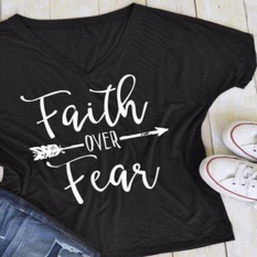 Hequ Summer Fashion Casual Letters Printed T-Shirt Short Sleeves Faith Over Fear Arrow Tee Tops Black - intl