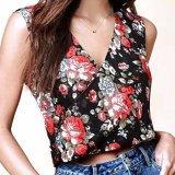 Model Hequ Musim Panas Bunga Dicetak Wanita Tipis Tank Tops Loose Fitness Sleeveless Shirt Rompi Belakang Split Berongga Out Backless Hitam Intl Terbaru